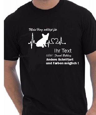 T-Shirt Heartbeat French Bulldog  Herz Gr